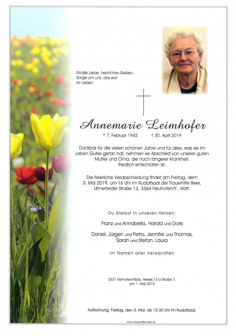 Annemarie Leimhofer Trauerhilfe Beer