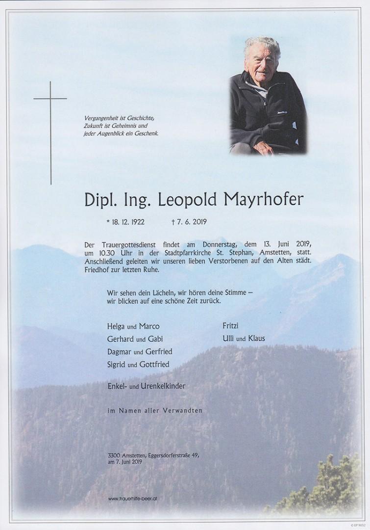 Parte Dipl. Ing. Leopold Mayrhofer