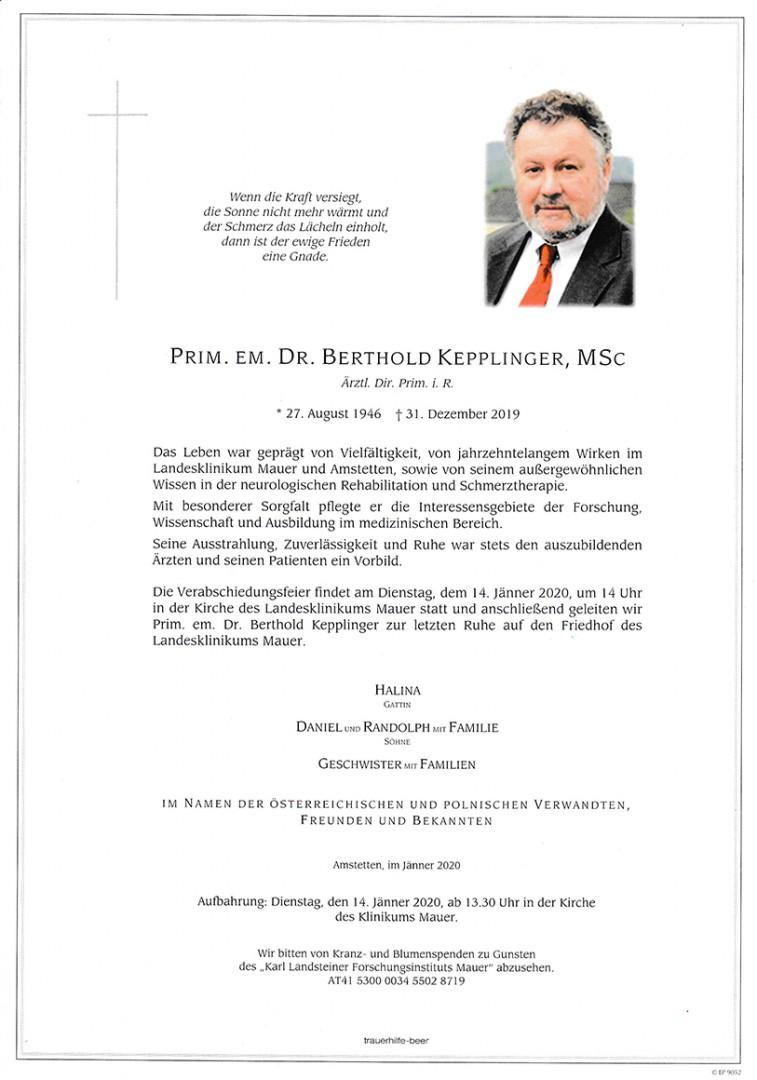 Parte Prim. em. Dr. Berthold Kepplinger, MSc