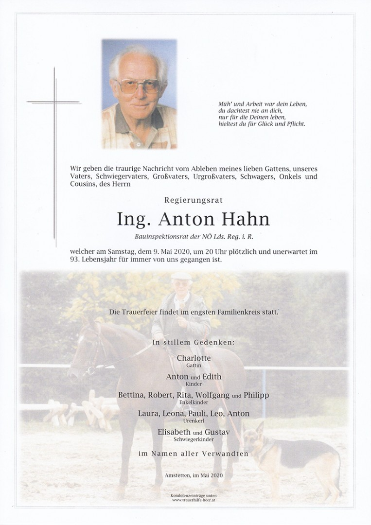 Parte Ing. Anton Hahn